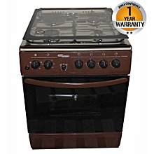 SGC6470BRN-Electric Cooker 60X60 with 3 Gas Burners + 1 Hot Plate-Stainless steel With Tempered Glass-TOP-Brown