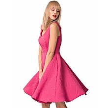 Closet Fuschia Sleeveless Skater Dress