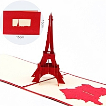 3D Pop Up Paris Eiffel Tower Greeting Cards Handmade Folds Flat Birthday red