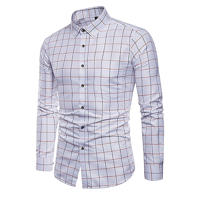 7c458e8ff0c Generic Men Business Long Sleeve Cotton Formal Check Shirts - White ...