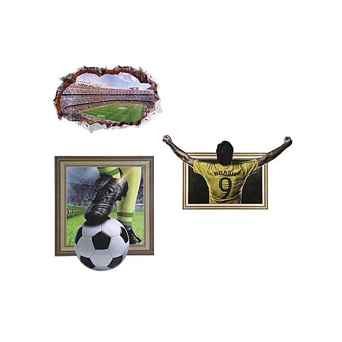 4b39f15bf8f ...  clearance Sale+ready Stock 3D Soccer Wall Stickers Removable Broken World  Cup Theme ...