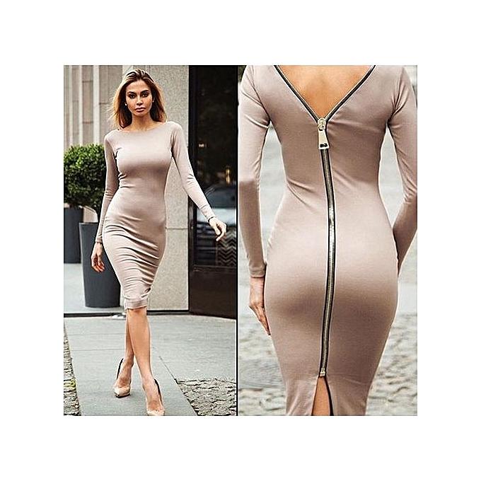 95e5913ffef Hot Sexy Dress Women's Beautiful Back Zipper Dress One-piece Solid Dress