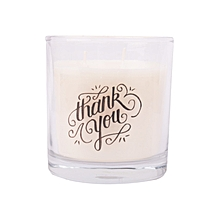 White scented candle: Thank you