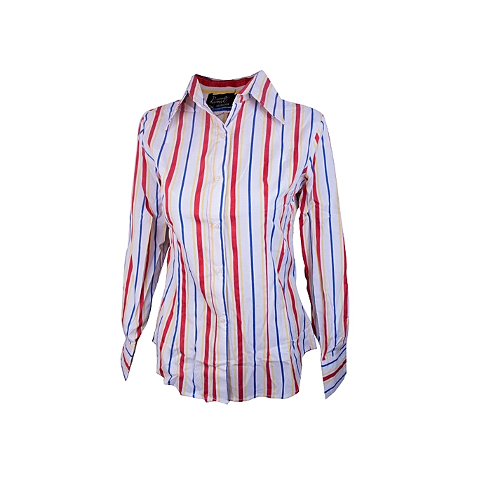 b3d57a2e97 Fashion Long Sleeve striped Shirt(white,red,yellow and blue stripes)Shirt