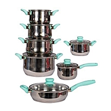 12Pcs Stainless Steel Cookware - Silver