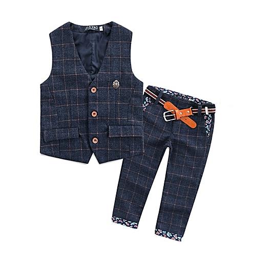 46e5b77ea Generic 2016 Children Baby Boy Blazer Clothes Set Plaid Vest Pants ...
