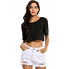 Women Short Sleeve Solid Loose Crop Tops Casual Sports T-shirt ( Black  )
