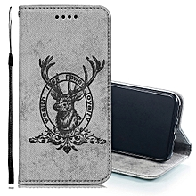 Deer Head Pattern Horizontal Flip Leather Case for iPhone X / XS, with Holder & Card Slots & Wallet & Lanyard(Grey)