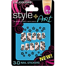 3D Nail Stickers - Black Flowers with Pearl
