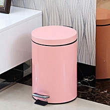Fashion Round Stainless Steel Household Hotel Office Covered Pedal Trash Bin, Size: 5L(Pink)