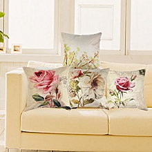 Linen Pillow Case Cover Vintage Throw Cushion Rose Flowers Pillowcases