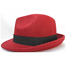 Unisex Trilby Jazz Hats with Black Band - Wine Red