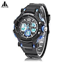AK16123 Male Dual Movt LED Sport Watch Chronograph Calendar Men Wristwatch-Blue-Blue
