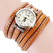 guoaivo CCQ Brand Vintage Leather Bracelet Watch Men Women Wristwatch Quartz  -Coffee