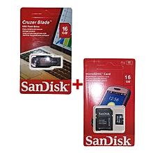 USB Flash Drive 16GB + Sandisk Memory Card SD Card 16GB