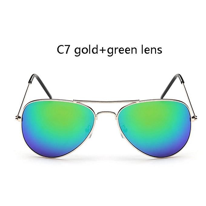 Mirror Aviation Femme Women Women's Oculos Sunglasses Gold Sun c7 Metal Lunettes Green Polit Retro Points For Glasses CthrdsQ