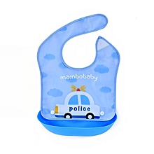 Fashion Baby Food Feeding Bibs Infant Toddler Cartoon Pocket Waterproof Meals Bib- Blue Police Car