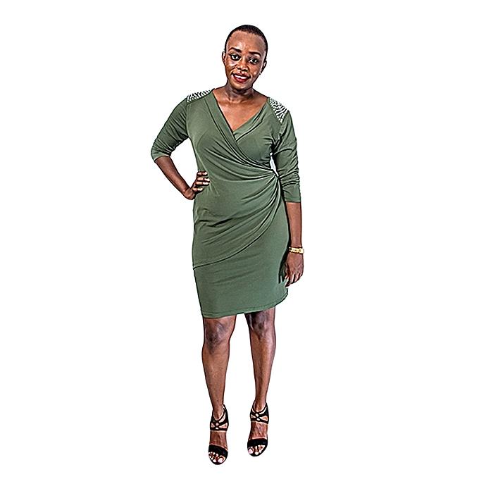 45b9a09d7c6 Plus Size Wrap Around Stretch Dress with Shoulder Embellishment – Jungle  Green