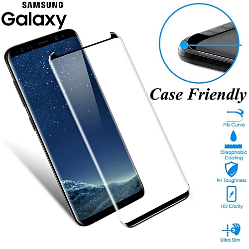 Case Fit 3D Curved Glass For Samsung Galaxy S8 S9 Plus Tempered Glass Case  Friendly Screen Protector For S8 plus S9 Shield(Color Black)