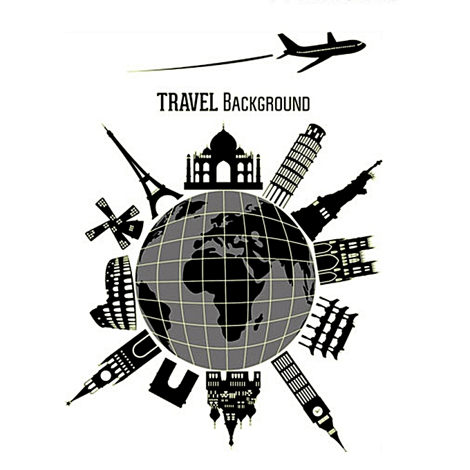 World Travel Decal Fluorescent Wall Stickers Creative Black White Journey Picture Home Decor Gift Luminous