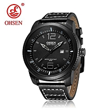 OHSEN Brand Fashion Men's Quartz Watch Men Sports Watches Genuine Leather Strap Relogio Masculino 30M Waterproof Wristwatches