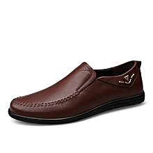 Genuine Leather Loafers Men Casual Driving Shoes (Brown)