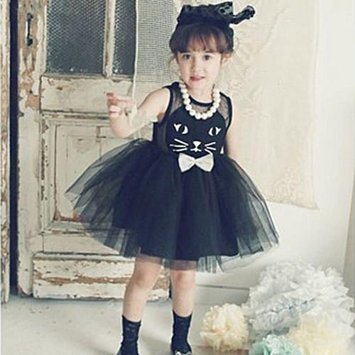 0211f781ac94d Children Girl Mesh Tulle Tutu Dress Cat Face Black Dress Toddler Baby Dress  Linning Kids Hollow