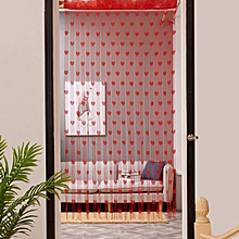 Love Heart String Curtain Window Door Divider Sheer Valance Red