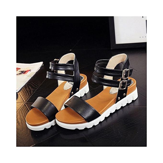 96d8bda63e05bb ... Fashion Women Simple Sandals Leather Flat Sandals Ladies Shoes-Black (EU  Sizing)