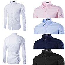 6 Pack Men Official Shirts - (100% Cotton) Black, White, Navy Blue, Light Blue & Pink