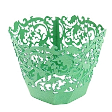Filigree Vine Cupcake Cake Wrappers Wrap Case Wedding Birthday Decor Color Green