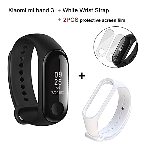 Mi band 3 OLED Heart Rate Monitor Bluetooth 4.2 Smart Bracelet+White replacement band and 2 free screen protector