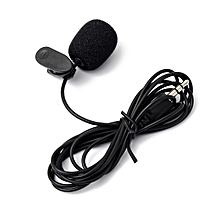 Lapel Lavalier Tie Clip Metal Mono Collar Mic 3.5mm for Lound Speaker (Black)