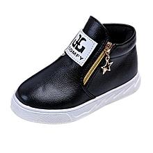 Children Casual Sport Boy Girls Fashion Martin Boots Sneakers Autumn Shoes BK/21-Black