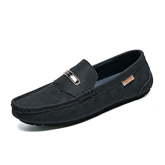 59020404e7 Men's Shoes Fashion Casual Loafers Genuine Leather Driving Shoes Black Size  38-44