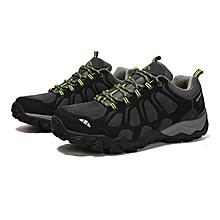 Winter Outdoor Sports Shoes Men Hiking Mountain Climbing Shoes Leather Waterproof Men Trekking Shoes Anti-skid Sneakers - Black