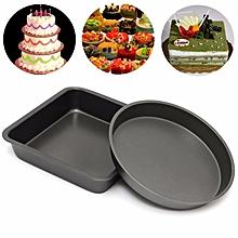 2PCS 8'' Round Shape Non-Stick Quality Cake Baking Tin Tray Bakeware Pan Mould Wedding Party Bday Black