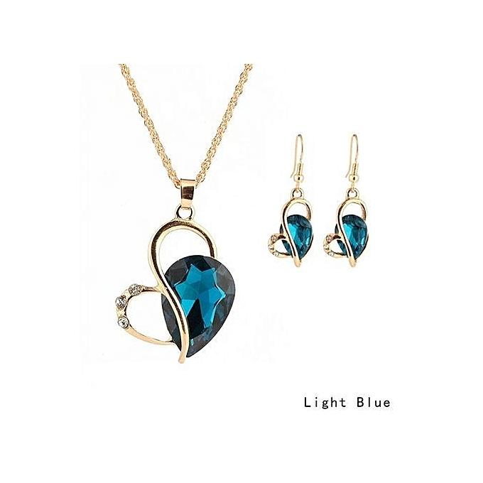 cc5a87ba482e6 Tanson New Charm Fashion Women Heart-shaped Teardrop-shaped Crystal  Necklace Earring Sets