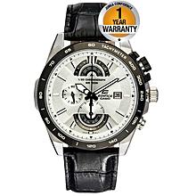 White Dial EFR 520L 7AV Black Leather Strap Watch