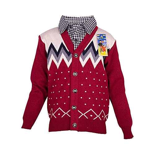 Boys Knitted Sweater with a Collared Shirt - Maroon .