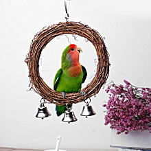 Bird Parrot Rattan Swing Hanging Ring Holder Pet Parakeet Budgie Cage Toy Stands