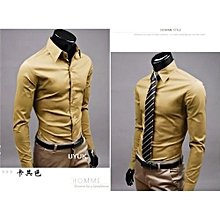 Jeansian Mens Dress Casual Shirt Slim Business Uniform-khaki