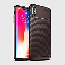 Beetle Shape Carbon Fiber Texture Shockproof TPU Case for iPhone X / XS(Brown)