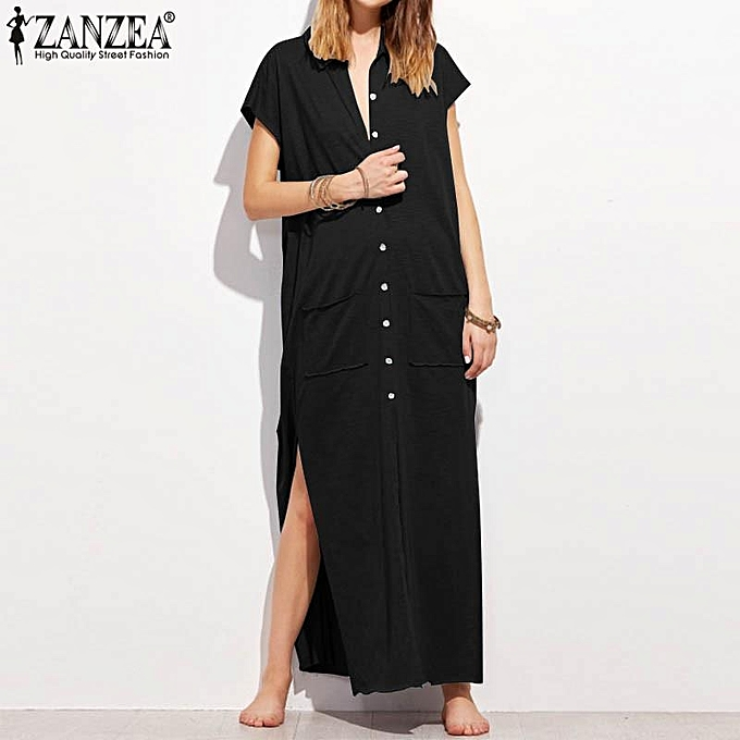 e541cd1c236d ZANZEA Women Short Sleeve Sundress Kaftan Plus Size Flare Long Maxi Dress