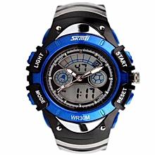 Fashion Kids Watches Sports 6 Colors Digital Rubber Children Watch Boy Waterproof 3Bar Gift Watches Student Stopwatch (Blue)