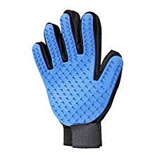 Pet Massage Glove -Pet Hair Remover Glove - Gentle Pet Grooming Glove Brush - Efficient Deshedding Glove - Massage Mitt with Enhanced Five Finger Design - Perfect for Dogs & Cats with Long & Short Fur - Blue