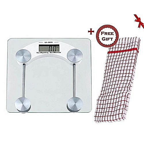 Digital Glass Weighing Bathroom Scale + FREE Gift Hand Towel