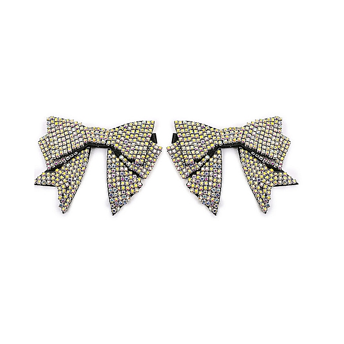 1 Pair Rhinestone Tie Bow Shoes Clips Decoration Women Shoe Charm for Lady  Women Girls d1f29bf59915