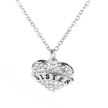 Women Letter SISTER Carved Heart Shaped Necklace -Silver
