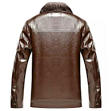 Mens Thick Velvet Warm Winter Faux Leather Jacket Stand Collar Fit Casual Coat